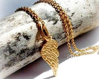 Gold Angel Wing Pendant On Gold Vermeil Cable Chain - Gift For Her