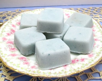 Sugar Scrub Cubes, choice of color, fragrance, size, exfoliating and skin loving sugar scrub cubes, gift wrapped for easy giving.