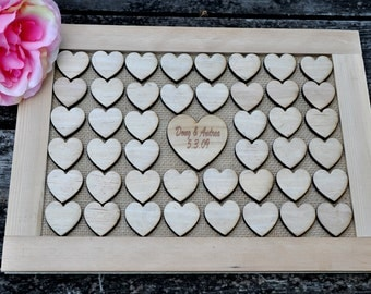 Rustic Wedding Guest Book, wood hearts , Wedding Guestbook Alternative, Rustic Wedding Guestbook, Pen Holder, Wedding Decor
