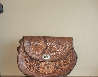 Hand Tooled Brown Leather Bag Purse Shoulder Bag- VGC