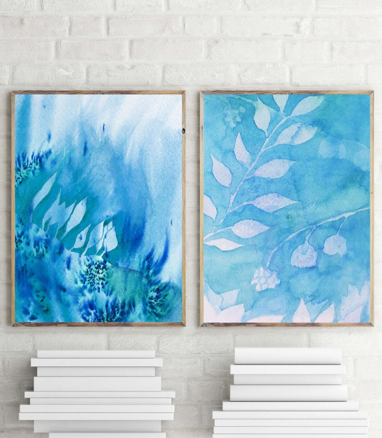 Teal Wall Art Home Decor Watercolor Wall Decor Teal Watercolor