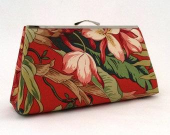 Orange  Hawaiian Clutch ~ Orange Retro Clutch ~ OrNge Hawaiian Purse  ~ Orange Floral Travel Bag ~ Orange Handbag ~ Orange Handbag