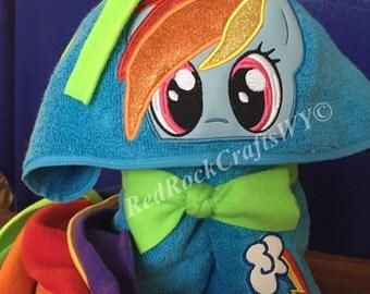 Rainbow Dash Hooded Towel - Hooded Towel - Childs Hooded Towel - Pony Towel - RedRockCraftsWY