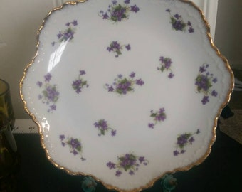 Lefton Handpainted China Plate.  Violets on White with gold trim.