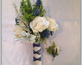 Bouquet set, blue bridal bouquet cream, blue, thitles, or pink and thitles. Garden wedding.