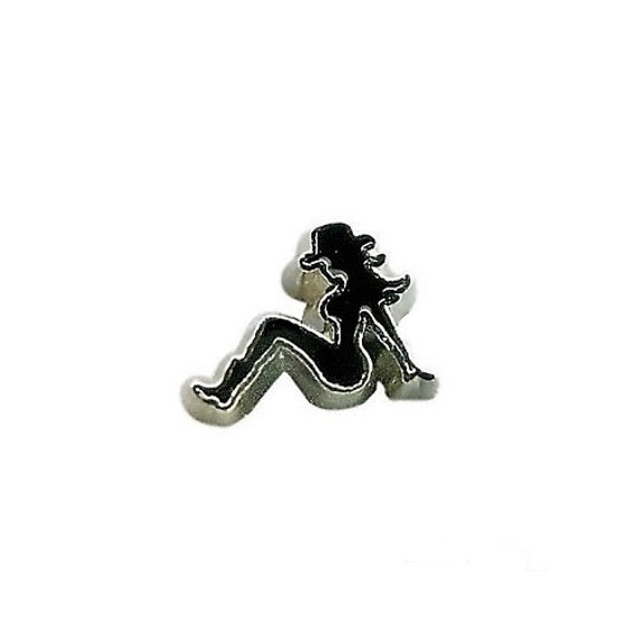 country girl silhouette floating charm