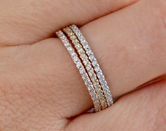 Eternity ring set. Stacking rings. Stacking ring set. Silver ring set. Beautiful high quality ring set. Eternity ring. Stackable rings.