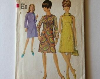 Vintage 1960s dress pattern, Sewing pattern, Simplicity Pattern, Simplicity 6783, Size 10, GladstoneCottage