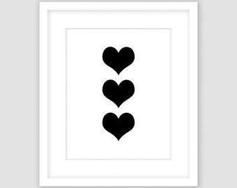 Black Triple Hearts on White Print, Modern Art, Instant Download, DIY, Printable