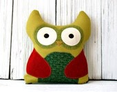 Owl Stuffed Animal Pillow - Colorful Green and Red - Cute Children's Wool Plushie with Hidden Zipper Pouch