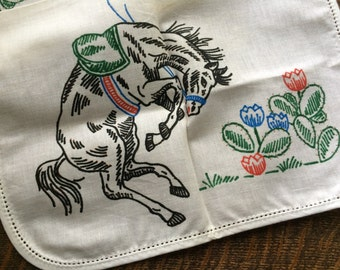 Western Vintage Linen~To Be Embroidered~Bucking Black Horse~Cactus Southwest~Needs Embroidery~Horses~Dresser Linens/Doily~1950's Textile