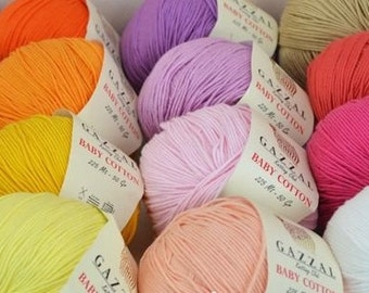 BABY COTTON GAZZAL, yarn cotton, semi cotton, knitting crochet 50 grams - 225 meters