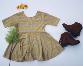 Striped dress for baby girl, mustard dress for toddler girl, fall dress for toddlers, thanksgiving dress for fall outfit, yellow dress