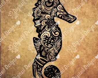 Zentangle Seahorse SVG, dxf, fcm, eps, ai, png cut file for Silhouette, Cricut, Scan N Cut. Doodle Seahorse SVG Seahorse Cut File
