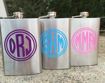 8oz Custom Monogrammed Flask Birthday gift Party gift