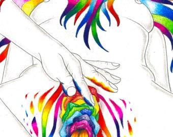 Finger Paint Art Print - Rainbow Erotica