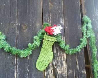 Green Crocheted Christmas Stocking - 100% Wool Customizable Holiday Decor, Country Chic, Shabby Chic, Granny Chic