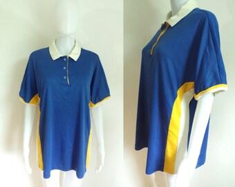 40%offAug18-21 80s knit top size xl, striped shirt, dolman sleeve, blue yellow white, collared, womens polo shirt, preppy, 1980s, stripes