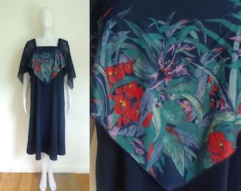 40%OffJune20-22 70s floral dress size xl, knit dress, empire waist dress, cape bodice, navy blue, day dress, 1970s, boho hippie, a-line