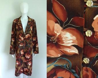 80s long floral jacket lightweight flower print jacket collared midi jacket 1980s preppy jacket light womens jacket large brown pink gold