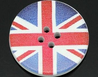 10 x 30mm round wooden union jack, British flag buttons