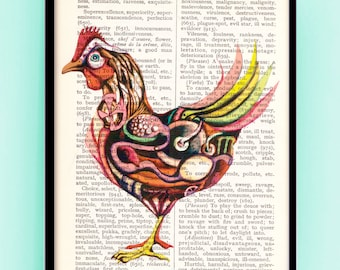 Hen with an egg Print,  Steampunk style,Great office and Home wall decoration printed on the old dictionary pages