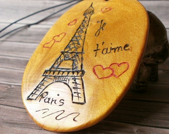 Eiffel Tower Necklace - Je t'aime Paris - France Jewellery - Unique Pendant - Big Fashion Charm - Handmade Jewelry - French Hipster Necklace