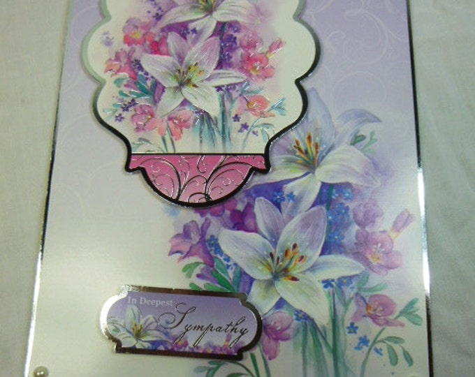 Sympathy Card, Sorry To Hear, Deepest Sympathy, Greeting Card, Lilac and Pink, Lilies and Fuchsias, Male or Female