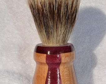Beautiful Handmade Segmented Purpleheart/Sycamore Badger Hair Shaving Brush