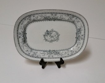Antique Johnson Bros Black and White Floral Lace Transferware Platter. Made in England. Trademarked.