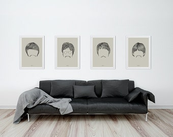 The beatles portrait drawing art print, poster of ringo starr,  john lennon, paul mccartney, george harrison hair styles
