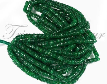 "16"" Inch Strand, Super Finest-Quality- GREEN AVENTURENE HEISHI Cut Square Beads, 5.5mm size,"
