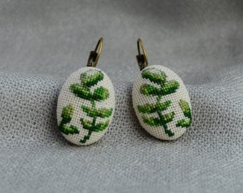 Embroidered Branch Green Cross Stitch Earrings Embroidered Jewelry Green Branch Earrings Handmade Unique Branch