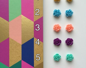 Choose Two! Flower Stud Earrings | Colorful Flower Studs | Flower Earrings | Flower Studs | Flower Studs w. Hypo Allergenic Earring Posts