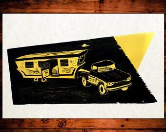 Truck Woodblock Poster