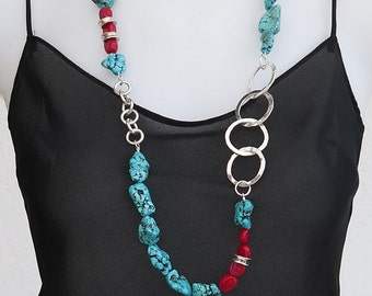 In 950, red coral and turquoise sterling silver necklace