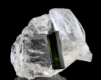 Green Tourmaline in Quartz Crystal  'Perfection'  A +++