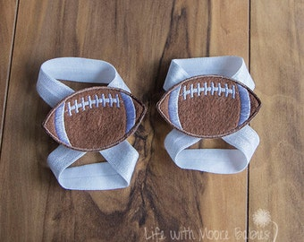 Barefoot Baby Sandal Football Patches, Interchangeable Football Baby Barefoot Sandals, White Football Baby Shoe, Colts, Cardinals, Jets