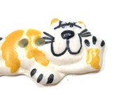 """LG Ceramic CAT Button, Handmade Cheshire kitty with golden stripes, 1 5/8"""""""