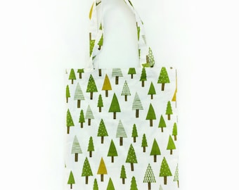 Tree Patterned Eco Bag, Canvas Bag,  School Bag, Market bag, Daily bag,  Leaf Patterned Bag, Cute Tote Bag, Eco Bag