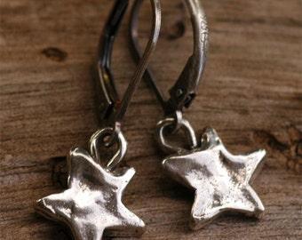 Artisan Twinkle Star Earrings in Sterling Silver on Lever Backs