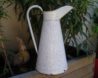 French antique enamel pitcher, large pitcher with grey marbled decor. French enamelware, French country decor, antique french cruche