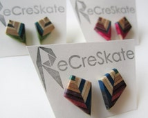 KITE stud earrings made from recycled skateboards, small geometric post earrings, nickel free, earrings in pink, purple, green and blue