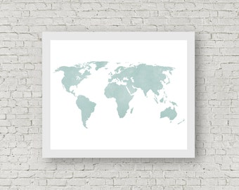 Silver gray distressed rustic world map wanderlust travel instant download aquamarine distressed world map minimal wanderlust shabby chic rustic world map gumiabroncs Gallery