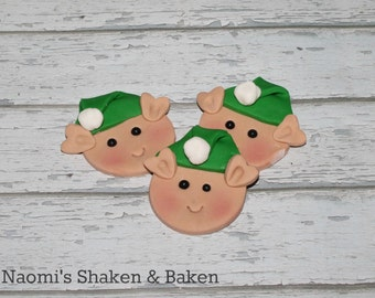 12x Edible Elf Christmas Holiday Cupcake Toppers