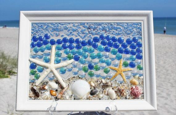 Best sea glass window art for salesea glass by terrysbeachart for Best coastal decor