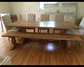 Oak pedestal farmhouse dining table and 1 matching bench