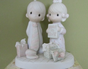 Our First Christmas Togther-1982, Precious Moments figurine, Spouse gift idea, Couple with gifts-ENESCO #E-2377,Religious gift,collectibles