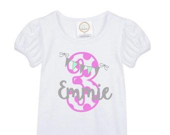 girls' personalized vintage bunting pennant birthday shirt vinyl custom