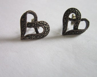 Antique Sterling Silver and Marcasite Stylized Heart Pierced Earrings